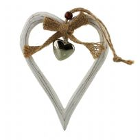 Shabby Chic Natural Wood Hanging Heart with Hessian Bow and Silver Heart